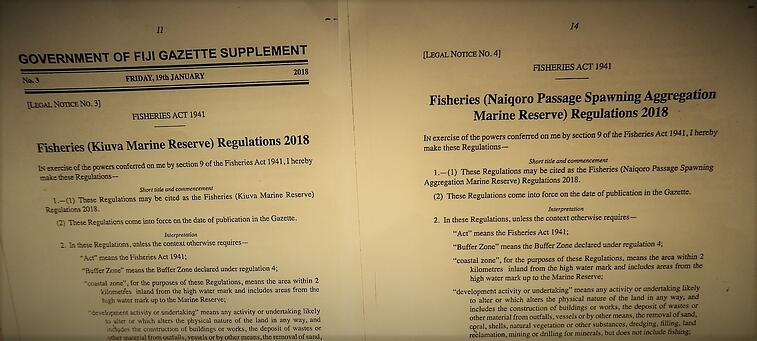 Fiji's Minister for Fisheries has created two new Marine