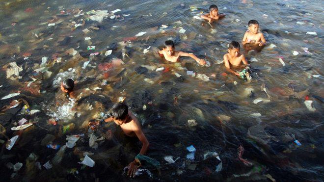 Kids in plastic
