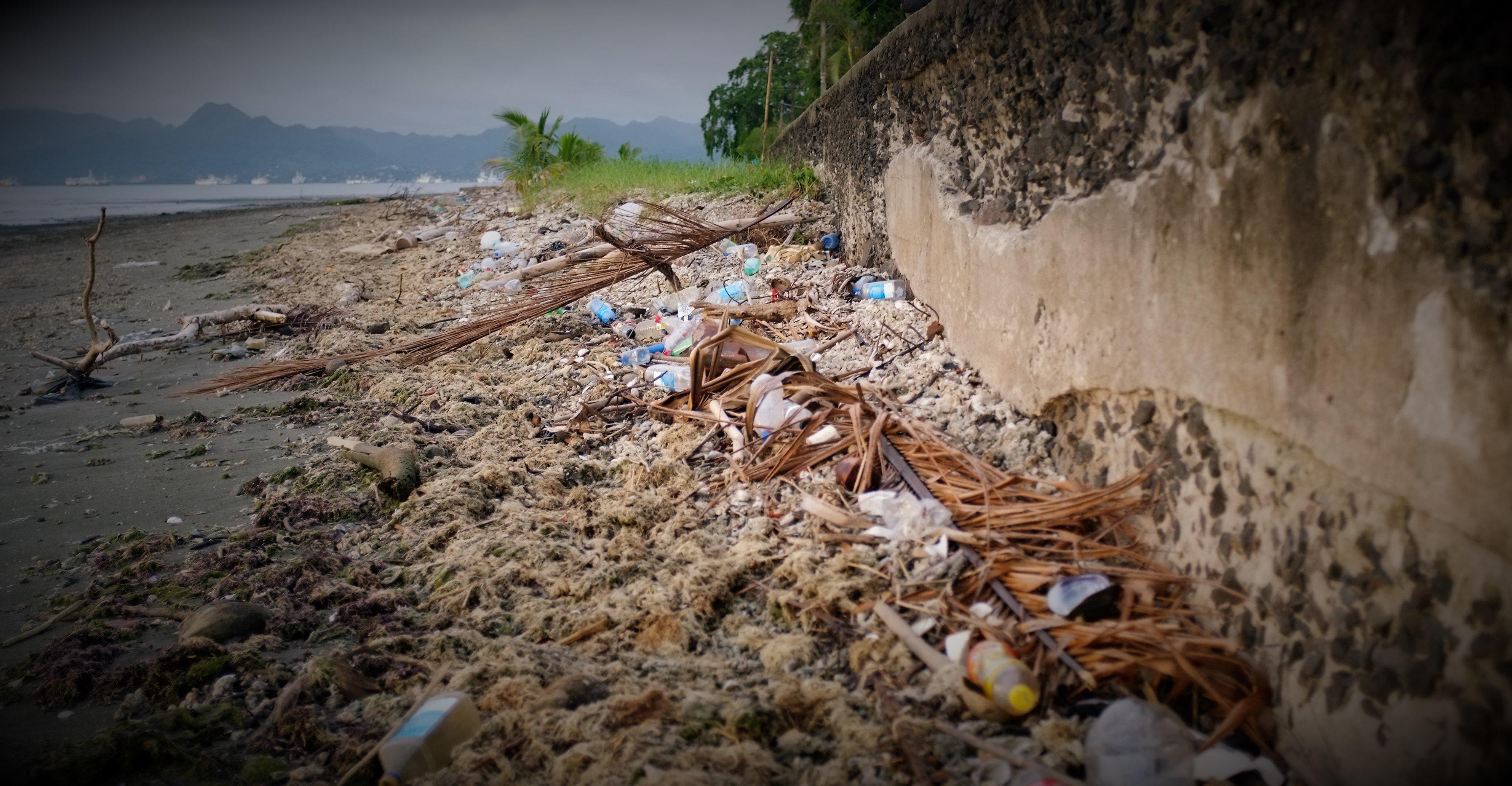 Plastic on suva foreshore